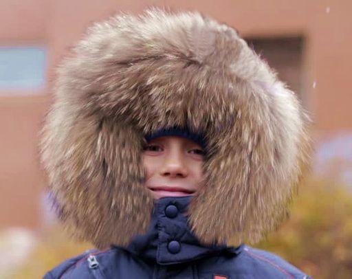 Boy and a fur hood
