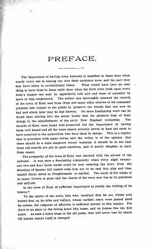 003 - HISTORY OF KENT, CONNECTICUT - PREFACE