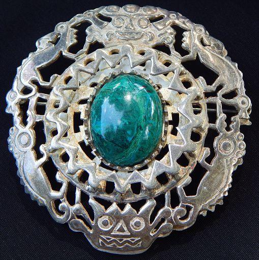 Vintage Peru Inca Etched Chrysocolla Silver Pendant Brooch