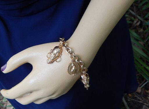 Vintage African Theme Rose Gold Plate 8-Charm Bracelet
