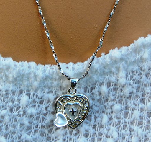 "Vintage Sterling Silver Open Heart Cross Locket Pendant with 22"" Sterling Silver Sparkle Chain"