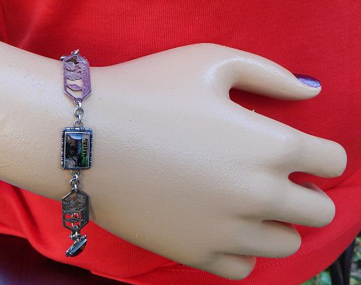 Vintage Bahamas Nassau Butterfly Wing Panel & Sterling Silver Carved Link Bracelet by Thomas L. Mott