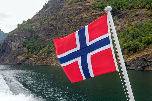 Norwegian flag on a boat