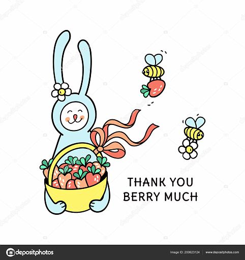 Thank you berry much hand drawn card with cute bunny.